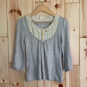 Anthropologie Guinevere Gray Bib Sweater S